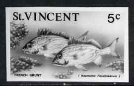 St Vincent 1975 French Grunt 5c stamp size Black & white  photographic proof similar to issued stamp but with thicker lettering and without imprint, as SG 426 unmounted mint