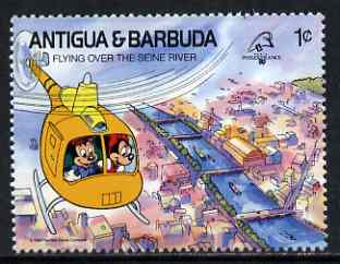 Antigua 1989 Helicopter over River Seine 1c (from Disney Philexfrance