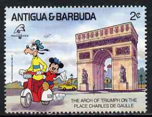 Antigua 1989 Scooter Ride past Arc de Triomphe 2c (from Disney Philexfrance