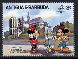 Antigua 1989 Painting the Notre Dame 3c (from Disney Philexfrance '89 set) unmounted mint, SG 1301