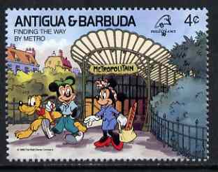 Antigua 1989 Leaving the Metro Underground Station 4c (from Disney Philexfrance '89 set) unmounted mint, SG 1302