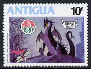 Antigua 1980 Slaying the Dragon 10c (from Disney 'Sleeping Beauty' Christmas set) unmounted mint, SG 676, stamps on dragons, stamps on swords