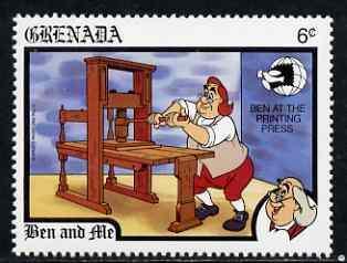 Grenada 1989 Ben Working Printing Press 6c (from Disney 'World Stamp Expo '89' set) unmounted mint, SG 2061*