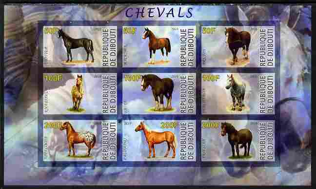 Djibouti 2010 Horses imperf sheetlet containing 9 values unmounted mint