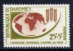 Dahomey 1963 Freedom From Hunger 25f + 5f unmounted mint, SG 184