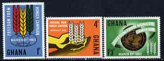 Ghana 1963 Freedom From Hunger set of 3 unmounted mint, SG 300-02