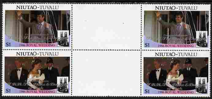 Tuvalu - Niutao 1986 Royal Wedding (Andrew & Fergie) $1 with 'Congratulations' opt in silver in unissued perf inter-paneau block of 4 (2 se-tenant pairs) unmounted mint from Printer's uncut proof sheet