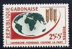 Gabon 1963 Freedom From Hunger 25f + 5f unmounted mint, SG 196