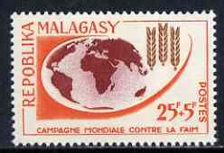 Malagasy Republic 1963 Freedom From Hunger 25f + 5f unmounted mint, SG 54