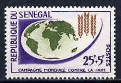 Senegal 1963 Freedom From Hunger 25f + 5f unmounted mint, SG 252