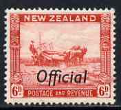 New Zealand 1936-61 Harvesting 6d def P14.5 x 15 Opt'd Official unmounted mint, SG O127c