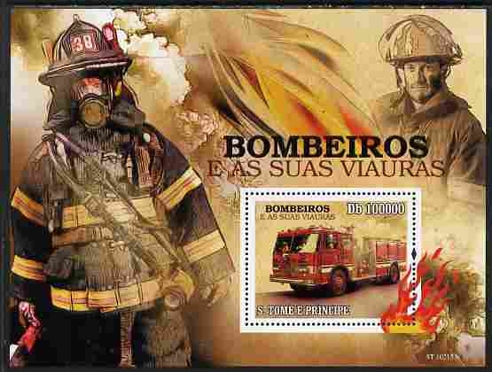 St Thomas & Prince Islands 2010 Fire Fighters perf souvenir sheet unmounted mint
