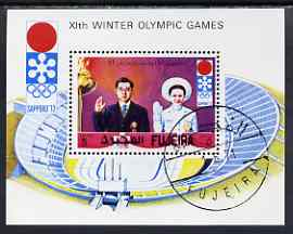 Fujeira 1971 Sapporo Winter Olympics perf m/sheet Japanese Crown Prince & Stadium) cto used, Mi BL 64A, stamps on sport, stamps on stadium, stamps on royalty, stamps on olympics, stamps on civil engineering