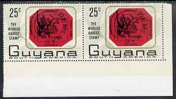 Guyana 1967 World's Rarest Stamp 25c horiz pair, one stamp with R10/5 extra stop after Guyana unmounted mint