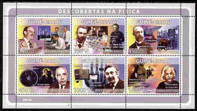 Guinea - Bissau 2008 Pioneers of Physics perf sheetlet containing 6 values unmounted mint Michel 3986-91