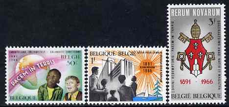 Belgium 1966 75th Anniversary of Papal Encyclical (Rerum Novarum) set of 3 unmounted mint, SG 1959-61