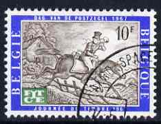 Belgium 1967 Telecommunications Day - opt on Stamp Day (19th cent Postman) fine used, SG 2021, stamps on postal, stamps on postman, stamps on horses, stamps on communications