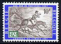 Belgium 1967 Telecommunications Day - opt on Stamp Day (19th cent Postman) unmounted mint, SG 2021, stamps on postal, stamps on postman, stamps on horses, stamps on communications