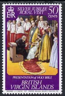 British Virgin Islands 1977 Royal Visit 50c (Presentation of Bible) unmounted mint with wmk inverted, SG 373w*