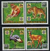 Niger Republic 1996 Animal Conservation perf set of 4 with Rotary Emblem unmounted mint