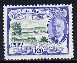 St Kitts-Nevis 1952 KG6 Salt Pond $1.20 from Pictorial def set unmounted mint SG 104