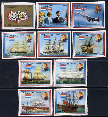 Paraguay 1981 Royal Wedding perf set of 10 (Ships etc) unmounted mint