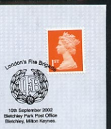 Postmark - Great Britain 2002 cover for London Fire Brigade with special illustrated Bletchley cancel