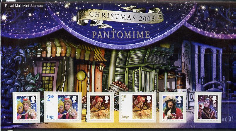 Great Britain 2008 Christmas - Pantomine self-adhesive set of 6 in official presentation pack SG 2876-81