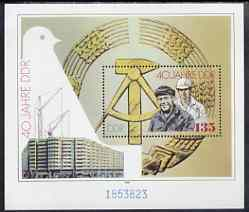 Germany - East 1989 40th Anniversary of Democratic Republic perf m/sheet unmounted mint, SG MS E2983