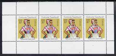 Booklet - Germany - East 1971 Sorbian Dance Costumes perf booklet pane containing 4 x 10pf stamps unmounted mint, SG E1443a