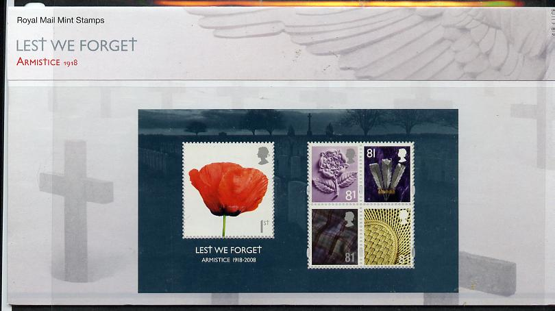 Great Britain 2008 Lest We Forget m/sheet in official presentation pack SG MS 2886