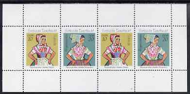 Booklet - Germany - East 1971 Sorbian Dance Costumes perf booklet pane containing 2 x 10pf & 2 x 20pf stamps unmounted mint, SG E1443b