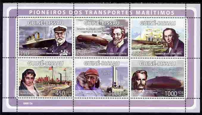 Guinea - Bissau 2008 Pioneers of Marine Transport perf sheetlet containing 6 values unmounted mint Michel 4000-05