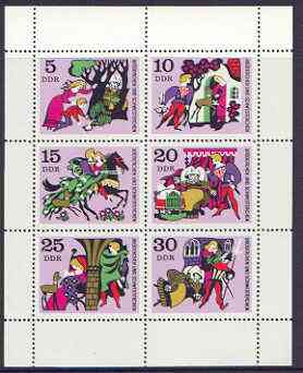 Germany - East 1970 Fairy Tales #05 - Little Brother and Little Sister, perf sheetlet containing set of 6 values unmounted mint, SG E1266a