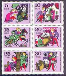 Germany - East 1970 Fairy Tales #05 - Little Brother and Little Sister, perf set of 6 unmounted mint, SG E1266-71