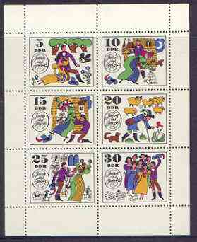 Germany - East 1969 Fairy Tales #04 - Jorinde and Joringe, perf sheetlet containing set of 6 values unmounted mint, SG E1171a