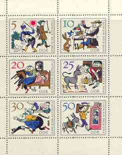 Germany - East 1966 Fairy Tales #01 - The Wishing Table, perf sheetlet containing set of 6 values unmounted mint, SG E957a