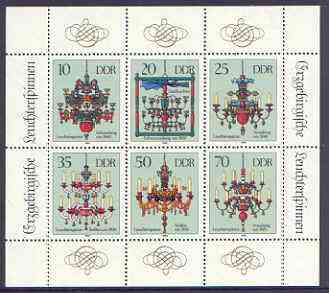 Germany - East 1989 Chandeliers from the Erzgebirge perf sheetlet containing set of 6 values unmounted mint, SG E2989a