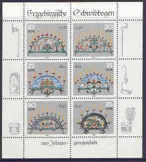 Germany - East 1986 Candle Holders from the Erzgebirge perf sheetlet containing set of 6 values unmounted mint, SG E2766a