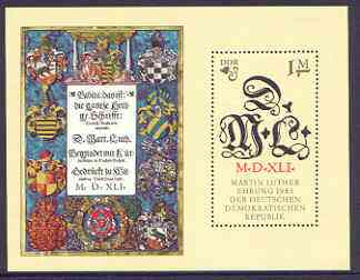 Germany - East 1983 500th Birth Anniversary of Martin Luther (Protestant) perf m/sheet unmounted mint, SG E2548