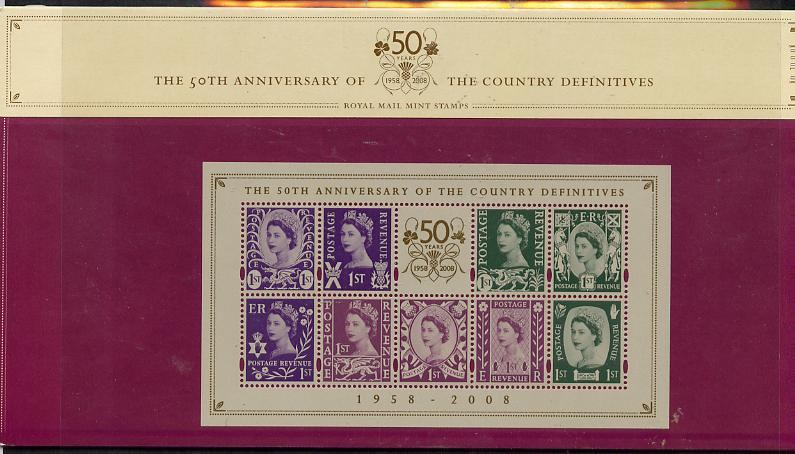 Great Britain 2008 50th Anniversary of Country Definitives perf m/sheet in official presentation pack SG MS NI 111