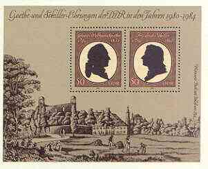 Germany - East 1982 Goethe & Von Schiller Commemoration (writers) perf m/sheet unmounted mint, SG MS E2390