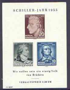 Germany - East 1955 150th Death Anniversary of Schiller (poet) imperf m/sheet unmounted mint, SG MS E212a