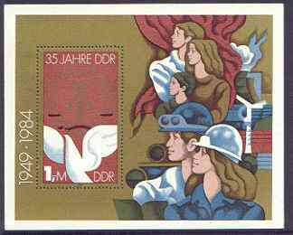 Germany - East 1984 35th Anniversary of Democratic Republic (3rd issue) perf m/sheet unmounted mint, SG MS E2613