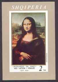 Albania 1969 Leonardo da Vinci Death Anniversary imperf m/sheet (Mona Lisa) unmounted mint, SG MS 1313