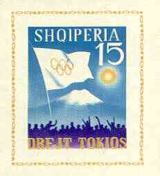 Albania 1964 Tokyo Olympic Games (3rd issue) imperf m/sheet (Flag & Mt Fuji) unmounted mint, as SG MS 821a, Mi BL 23
