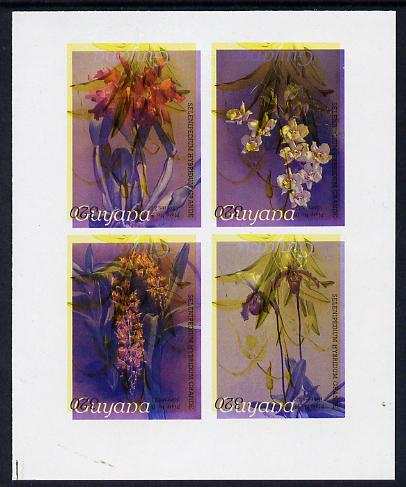 Guyana 1985-89 Orchids Series 2 Plate 46, 55, 57 & 81 (Sanders' Reichenbachia) unmounted mint imperf se-tenant sheetlet of 4 in blue & red colours only with black & yellow from another value (plate 16) printed inverted, most unusual and spectacular