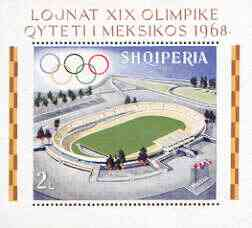 Albania 1968 Mexico Olympic Games perf x imperf m/sheet (stadium) unmounted mint, SG MS 1275, Mi BL33A