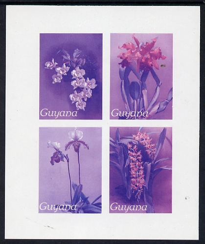 Guyana 1985-89 Orchids Series 2 Plate 46, 55, 57 & 81 (Sanders' Reichenbachia) unmounted mint imperf se-tenant sheetlet of 4 in blue & red colours only