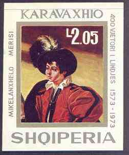 Albania 1973 400th Birth Anniversary of Caravaggio imperf m/sheet (Man in Feathered Hat) unmounted mint, SG MS 1555